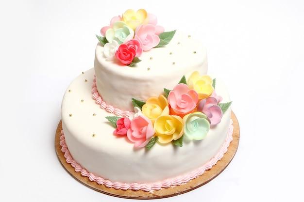 Tort Weselny Z Kolorowymi Kwiatami Darmowe Zdjęcia