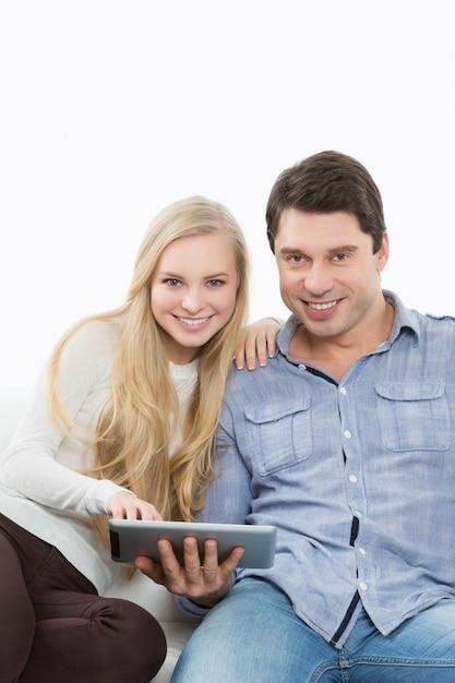 Touchpad Gospodarstwa Para. Edukacja Domowa. Premium Zdjęcia