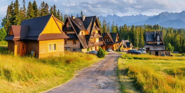 Tradycyjny Drewniany Dom W Górach Na Zielonym Polu Góry, Polska Premium Zdjęcia