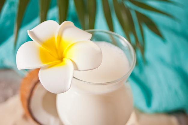 Tradycyjny Karaibski Egzotyczny Tropikalny Koktajl Pina Colada W Szklankach Z Kwiatami Plumeria Frangipani, Liściem Palmowym I Kokosem. Koncepcja Piknik Na Tropikalnej Plaży. Premium Zdjęcia