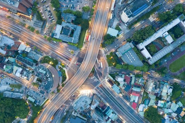Traffic Circle Aerial View - Traffic Concept Image, Gongguan Traffic Circle, W Taipei, Taiwan. Premium Zdjęcia