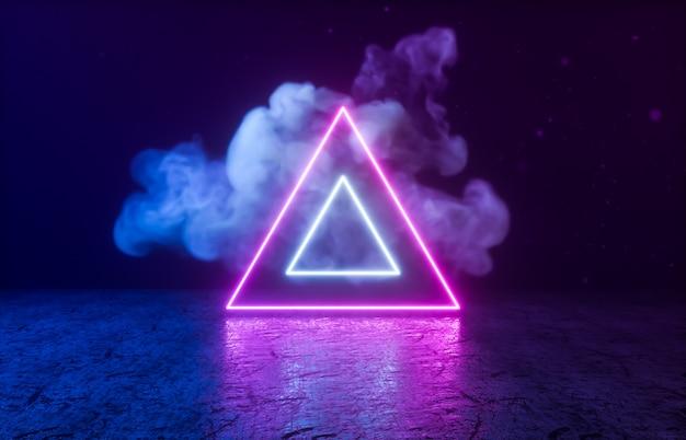 Trójkątny Kształt Geometryczny Z Neonem Na Czarnym Pokoju. Premium Zdjęcia