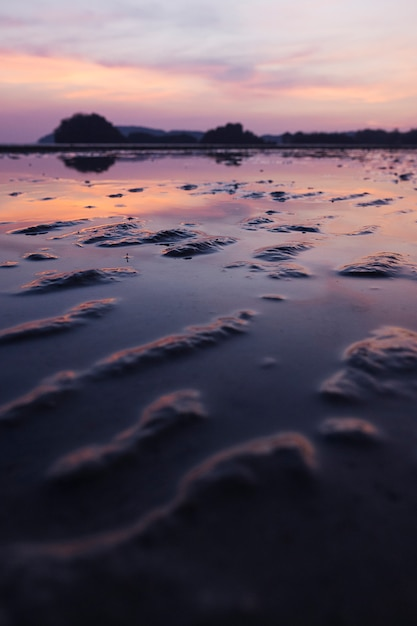 Tropikalna piaszczysta plaża z dramatycznym niebem w czasie odpływu Darmowe Zdjęcia
