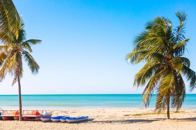 Tropikalna Plaża Varadero Na Kubie Z żaglówkami I Palmami W Letni Dzień Z Turkusową Wodą. Premium Zdjęcia