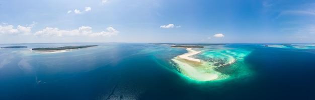 Tropikalna plaża wyspa rafa morze karaibskie. biały piasek bar snake island, indonezja archipelag moluccas, wyspy kei, morze banda, cel podróży Premium Zdjęcia