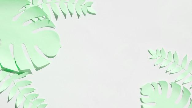 Tropikalne Liście W Stylu Cięcia Papieru W Kolorze Szarym Darmowe Zdjęcia