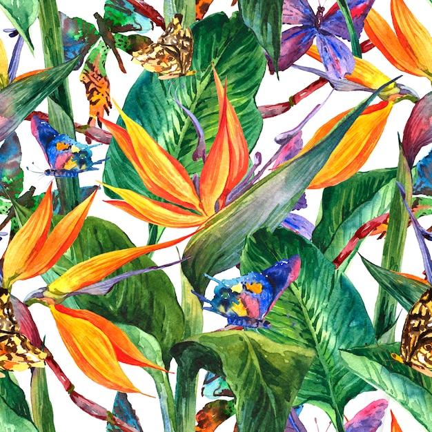 Tropikalny wzór z egzotycznych kwiatów Premium Zdjęcia