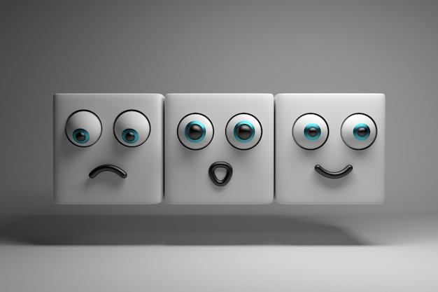 Trzy postacie pokazujące emocje Premium Zdjęcia