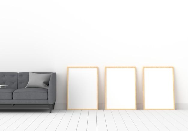 Trzy Puste Ramki Do Makiety W Białym Pokoju Premium Zdjęcia