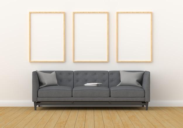 Trzy puste ramki na makiety w nowoczesnym salonie Premium Zdjęcia
