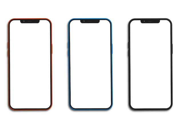Trzy Telefony Komórkowe Z Pustym Ekranem Premium Zdjęcia