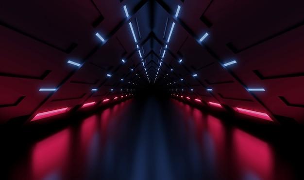 Tunel Renderingu 3d Statek Kosmiczny Niebieski I Różowy Wnętrze, Korytarz Premium Zdjęcia