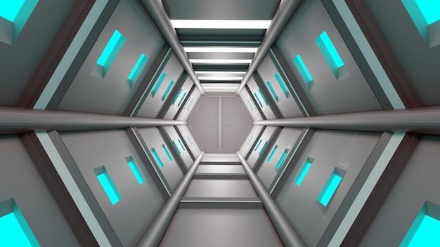 Tunel Renderowania 3d Zaawansowana Technologia Sci-fi Technologia Abstrakcyjna Tła Premium Zdjęcia