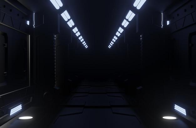 Tunnel Spaceship Ciemne Wnętrze, Korytarz Premium Zdjęcia
