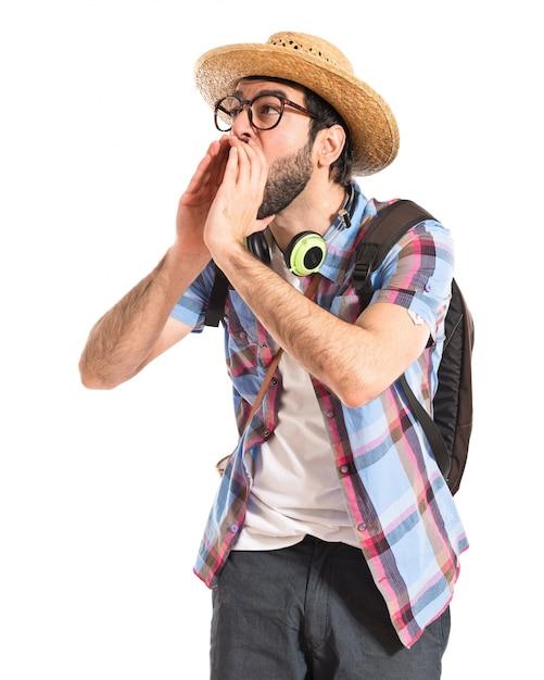Turystyczne Krzycząc Na Białym Tle Darmowe Zdjęcia