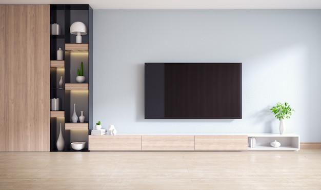 Tv gabinet i pokaz na z drewnianą podłoga i jasnopopielatą ścianą, minimalistycznym i rocznika wnętrzem żywy pokój,, 3d rendering Premium Zdjęcia