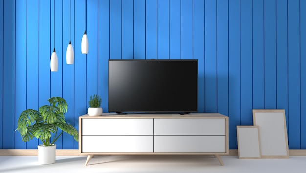 Tv Na Gabinecie W Nowożytnym żywym Pokoju Na Błękit ściany Tle, 3d Rendering Premium Zdjęcia