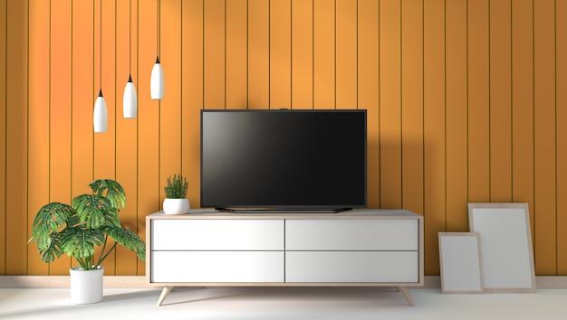 Tv Na Gabinecie W Nowożytnym żywym Pokoju Na Kolor żółty ściany Tle, 3d Rendering Premium Zdjęcia