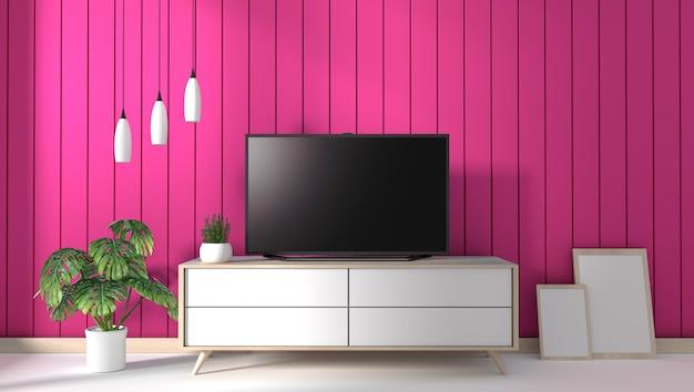 Tv Na Gabinecie W Nowożytnym żywym Pokoju Na Menchii ściany Tle, 3d Rendering Premium Zdjęcia