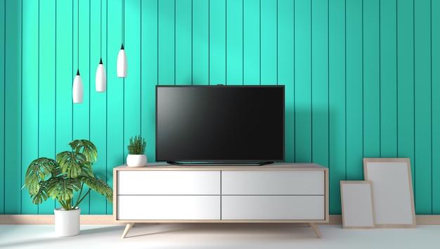 Tv Na Gabinecie W Nowożytnym żywym Pokoju Na Nowym ściennym Tle, 3d Rendering Premium Zdjęcia