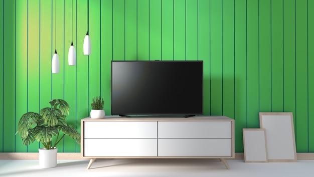 Tv Na Gabinecie W Nowożytnym żywym Pokoju Na Zieleni ściany Tle, 3d Rendering Premium Zdjęcia