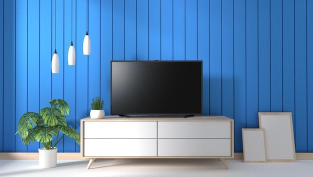 Tv Na Szafce W Nowożytnym żywym Pokoju Na Błękit ściany Tle Premium Zdjęcia