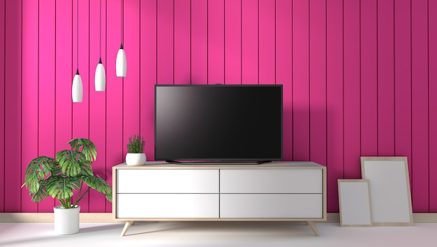 Tv Na Szafce W Nowożytnym żywym Pokoju Na Menchii ściany Tle Premium Zdjęcia