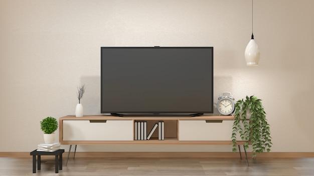 Tv Na Szafce W Salonie Zen Z Lampą, Stołem, Szafką I Roślinami .3d Rendering Premium Zdjęcia