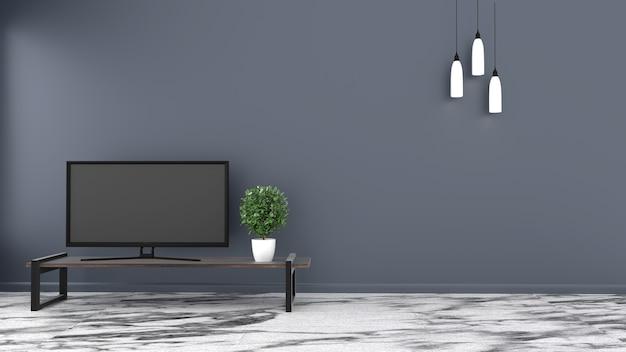 Tv, Pustego Pokoju Kamienna Podłoga Na Zmroku ściany Tle. Renderowania 3d Premium Zdjęcia