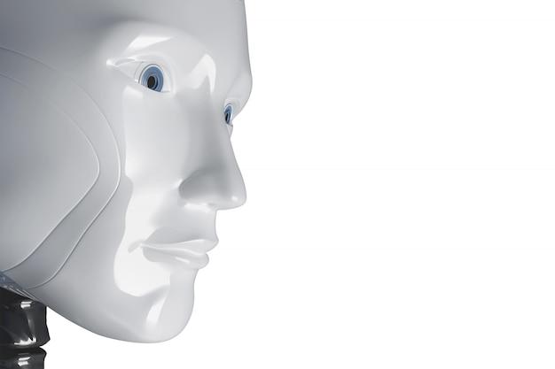 Twarz Białego Robota. Ilustracja 3d Premium Zdjęcia