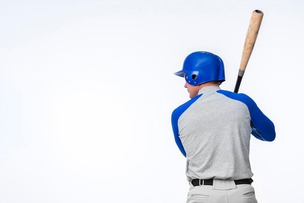 Tylny Widok Gracz Baseballa Z Kopii Przestrzenią Darmowe Zdjęcia