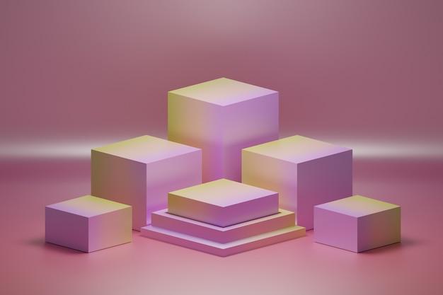 Układ Cokołów W Kolorze Gradientu Różu I żółci Premium Zdjęcia