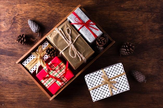 Układ leżał płasko różne prezenty świąteczne Darmowe Zdjęcia