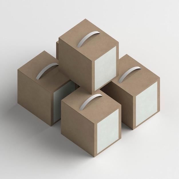 Układ Pudełek Produktów Pod Wysokim Kątem Darmowe Zdjęcia