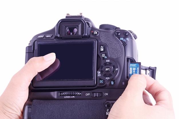 Umieść pamięć w kamerze Premium Zdjęcia