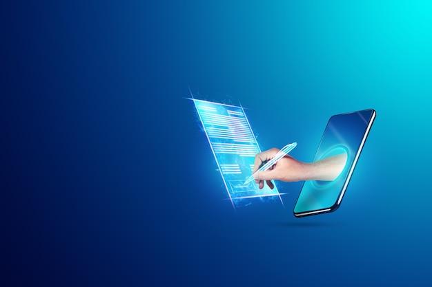 Umowa Męskiej Dłoni I Nowoczesny Smartfon Z Hologramem. Koncepcja Podpisu Elektronicznego, Biznesu, Współpracy Zdalnej, Miejsca Na Kopię. Różne środki Przekazu. Premium Zdjęcia