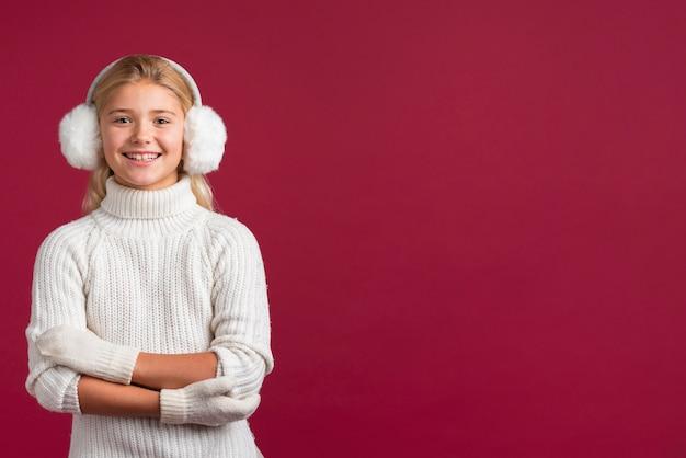 Urocza Boże Narodzenie Dziewczyna Z Kopii Przestrzenią Darmowe Zdjęcia