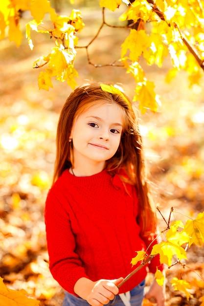 Urocza mała dziewczynka bawić się z jesień liśćmi Premium Zdjęcia