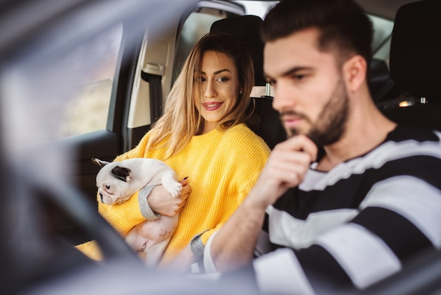 Urocza Uśmiechnięta Nowoczesna Bizneswoman Trzyma Małego Słodkiego Psa I Patrzy Na Kierowcę W Samochodzie. Premium Zdjęcia