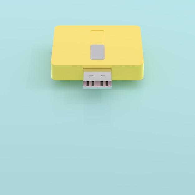 Usb Błysku Przejażdżki Kolor żółty I Błękitny Pastelowy Kolor I Kopii Przestrzeń Dla Twój Teksta, 3d Odpłacamy Się. Premium Zdjęcia