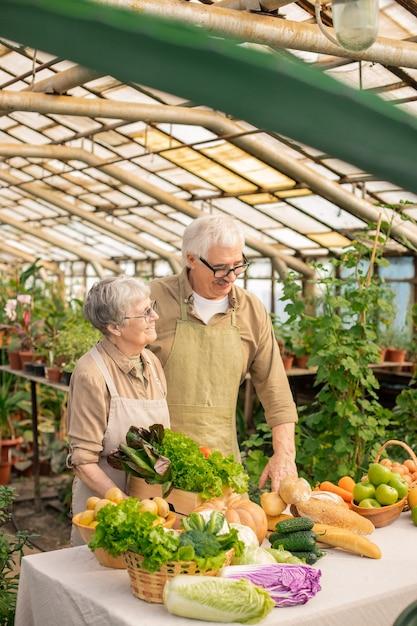 Uśmiechnięta Para Starszych W Fartuchach Stojących Przy Stole Z Różnymi Produktami I Sprzedaży Warzyw Z Ich Ogrodu Premium Zdjęcia
