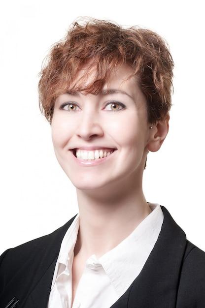 Uśmiechnięty sukces krótkie włosy kobiety biznesu Premium Zdjęcia