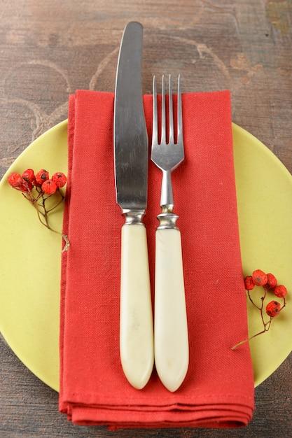 Ustawienie stołu rustykalnego Premium Zdjęcia