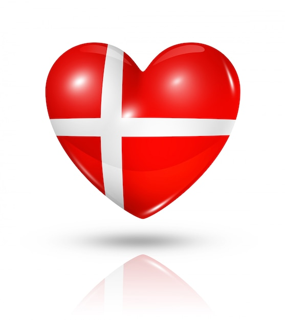 Uwielbiam Flaga Danii Serce Ikona Premium Zdjęcia