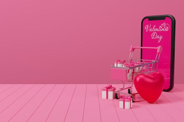 Valentine Koncepcja Zakupy Online Na Stół Z Drewna, Ilustrator Renderowania 3d. Premium Zdjęcia