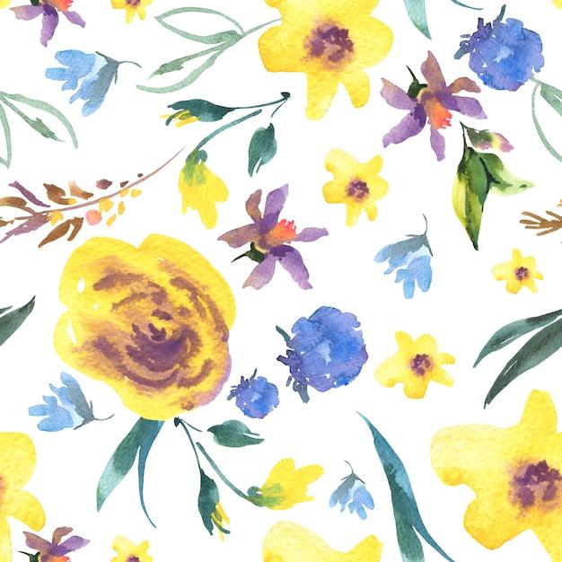 Vintage Akwarela Kwiatowy Wzór Z Polne Kwiaty Premium Zdjęcia