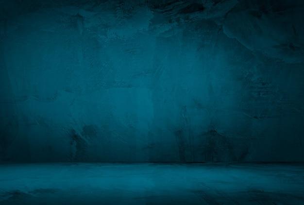 Vintage Grunge Niebieski Tekstury Betonu Studio ściany Tło Z Winietą. Darmowe Zdjęcia