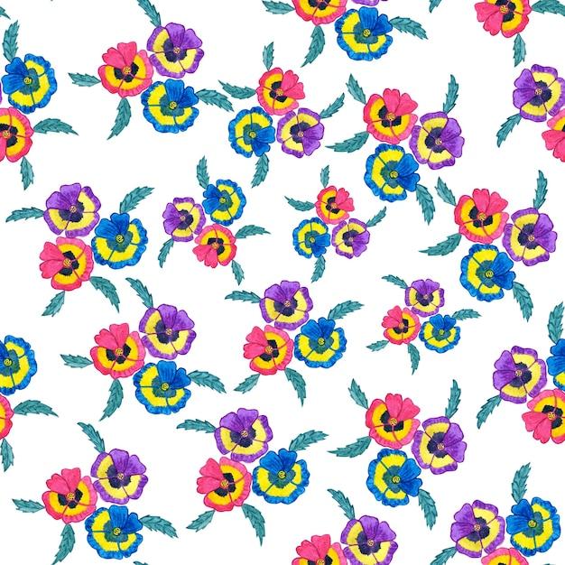 Vintage Kwiat Akwarela Wzór Tła. Ilustracja Na Białym Tle. Premium Zdjęcia