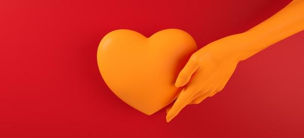 Walentynka Dnia Ręki Mienia Tła Wzoru 3d Ilustraci Kierowy Rendering. Odważny Czerwony Kolor Leżał Płasko. Uwielbiam Kartkę Z życzeniami, Plakat, Szablon Transparent Na Imprezę Premium Zdjęcia