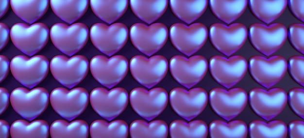 Walentynka Dnia Serc Tła Wzoru 3d Renderingu Ilustracja. Holograficzny Płaski Fioletowy Neon Leżał. Premium Zdjęcia